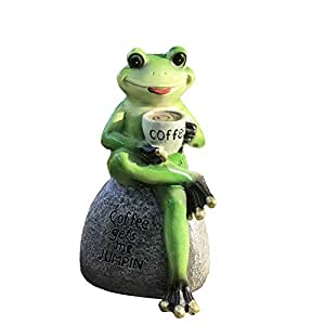 coffie drinking frog garden ornament