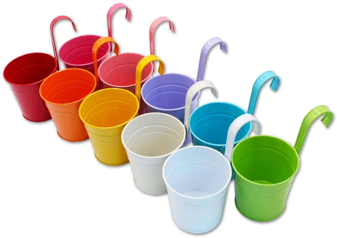 Hanging colourful pots