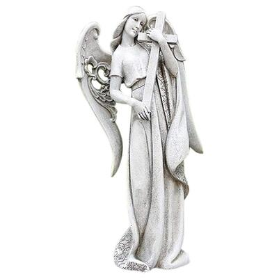 Garden angel statue holding cross