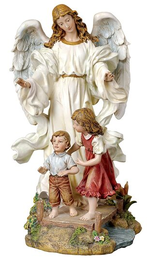 Angel with Children on a bridge garden ornament