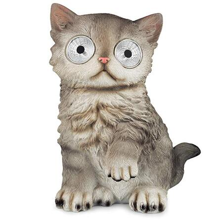 Solar eyed cat garden ornament