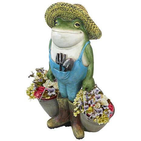 Gardener frog with pots ornament