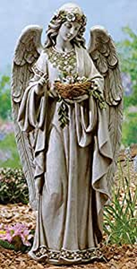 Angel with birds nest outdoor statue