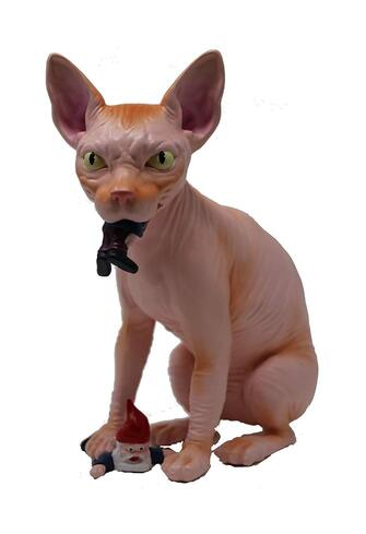 hairless cat garden ornament