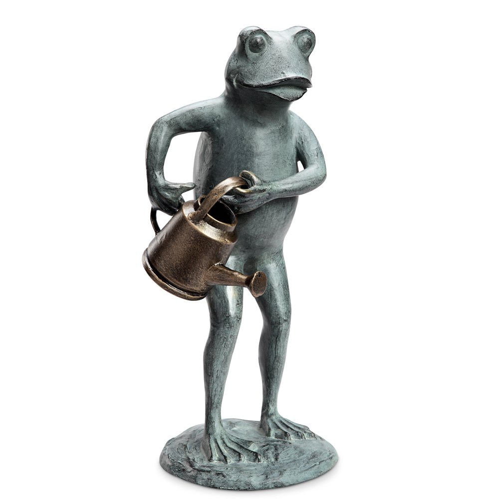 frog watering can garden ornament