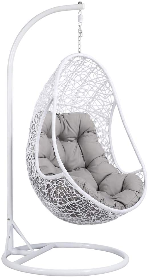 white hanging egg chair